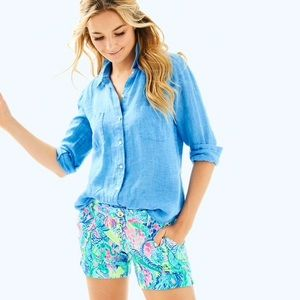 Lilly Pulitzer | Sea View Button Down Top Blue L